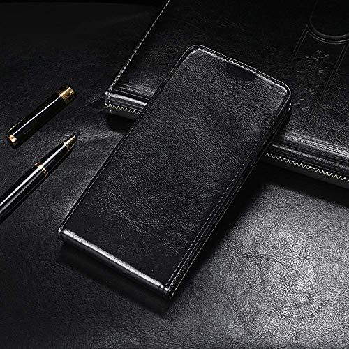 QHTTN Flip Premium PU Leder Tasche Hülle Etui TPU Silikon Für TP-LINK Neffos C5A Lederhülle Handyhülle Schutzhülle Handy Schale Etui Magnet Cover Hülle (Schwarz)