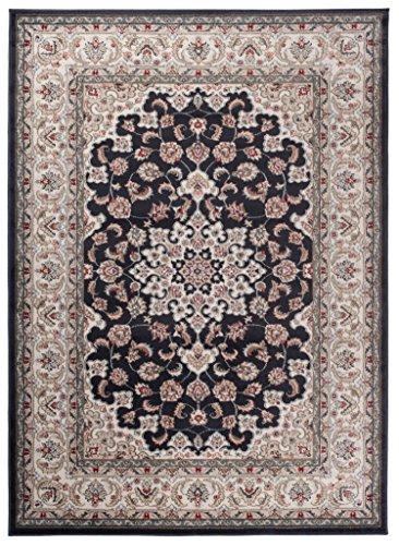 Traditioneller Klassischer Teppich für Ihre Wohnzimmer - Anthrazit Schwarz Creme - Perser Orientalisches Heriz Keshan Muster - Blumen Ornamente - Top Qualität Pflegeleicht