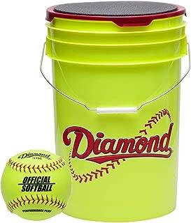 Diamond 6-Gallon Ball Bucket with 18 11YOS 11-inch Softballs, Yellow
