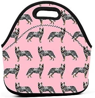 オーストラリア牛犬シンプルピンクランチバッグ断熱熱ランチトートアウトドア旅行ピクニックキャリーケースランチボックスハンドバッグ付きジッパー