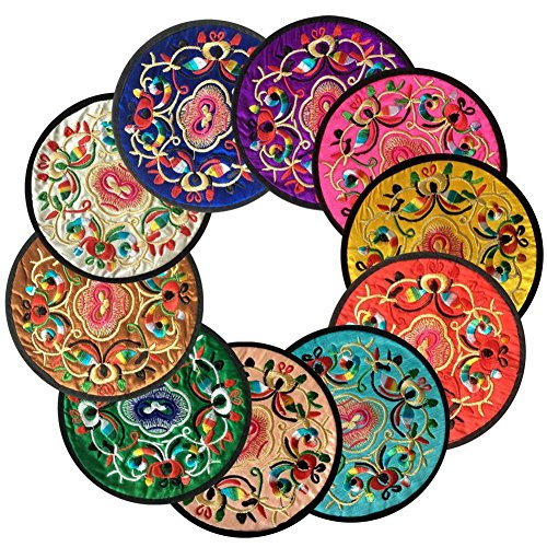 Cuteco Round Coasters for Drinks Placemats Set Chinese Embroidery Large Glass Cup Place Mats Pad Novelty For Tea Coffee (6 pcs)