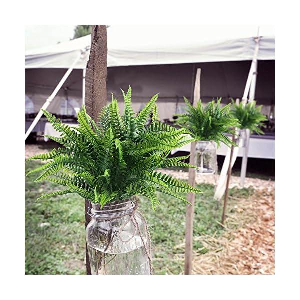 NAHUAA 4Pcs Helecho Artificial Arbusto Plantas de Plástico para Salón Mesa Patio Jardineria Jardin Valla Plantas…