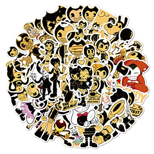 50PCS Bendy and The Ink Machine Stickers for Laptop and Computer, Anime Cartoon Waterproof Vinyl Stickers for Water Bottle Hydro Flask Car Bumper Luggage (Bendy and The Ink Machine)