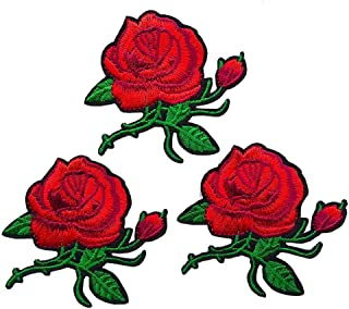 Qingxi Charm Colorful Red Rose Flower Sewing on/Iron on Embroidered Patches Clothes Dress Hat Pants Shoes Curtain Sewing Decorating DIY Craft Embarrassment Applique Patches