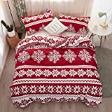 LAMEJOR Christmas Duvet Cover Set Queen Size Snowflake Pattern Luxury Holiday Bedding Set Comforter Cover(1 Duvet Cover+2 Pillowcases) Red