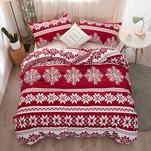 LAMEJOR Duvet Cover Set Queen Size Christmas Theme Snowflake Pattern Luxury Holiday Bedding Set Comforter Cover(1 Duvet Cover+2 Pillowcases) Red
