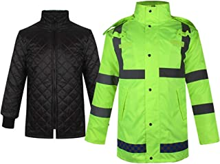 BGROESTWB Snow Rainwear Reflective Raincoat Warmth Padded Raincoat Jacket For Safety Visibility Work Waterproof And Rainpr...