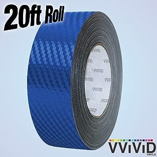 VViViD Dry Carbon Fibre Detailing Vinyl Wrap Tape 2 Inch x 20ft Roll DIY (Blue)