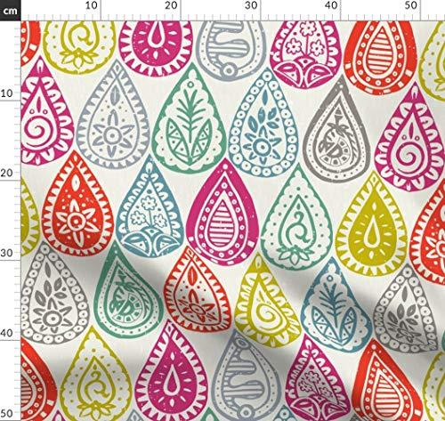 Indianisch, Indien, Scrummy, Sharon Turner, Tröpfchen, Regentropfen, Regen Stoffe - Individuell Bedruckt von Spoonflower - Design von Scrummy Gedruckt auf Bio Musselin