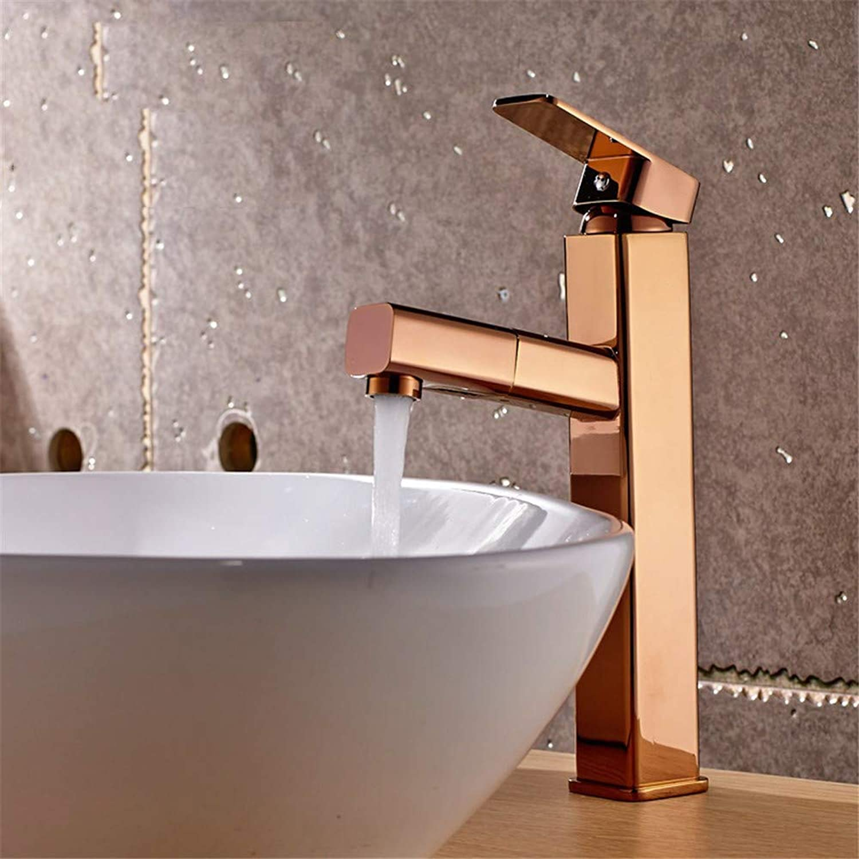 Oudan All Copper Basin Mixer Duplex pink gold Basin Faucet Mixing (color   -, Size   -)