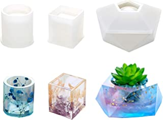 Resin Silicone Mold,Fashionclubs Resin Art Molds Include Round,Square,Pentagon DIY Epoxy Resin Mold Silicone Molds for Casting Coaster/Flower Pot/Ashtray/Pen Candle Soap Holder