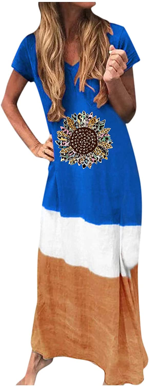 Fashion Women Loose Sunflower Print Short Sleeves Side Split O-Neck Casual Dress