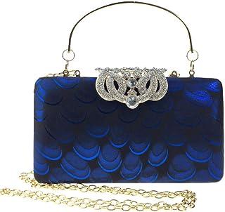 HG&& Damen Clutch Handtasche Pfau Kette Dinner Bag Kleid Abendtasche Perle Diamant Glitzer Bag Elegante Kettentasche Shiny Strass Braut Hochzeit Party Portemonnaie Umhängetasche,Blau