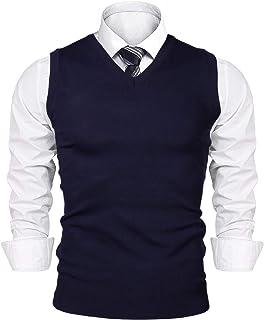 iClosam Men's V-Neck Sleeveless Vest Classic Business Sweater Gilet Knitwear Tank Top