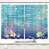 DECISAIYA Cortina de Cocina Fondo de Escamas de Peces Conchas Marinas Coral bajo el mar Acuario Océano Juegos de Tratamiento de Ventanas Cortinas 2 Paneles con Ganchos,140x100CM