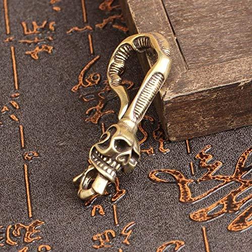 AIYASIWEI Leuke modieuze koper draak hoofd sleutelhanger antieke ambachtelijke sleutelhangers kreeft gespen sleutelring taille gesp messing metalen vintage auto sleutel houder cadeau