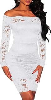 Shawhuwa Womens Sexy Criss Cross Off Shoulder Bodycon Party Club Midi Dress