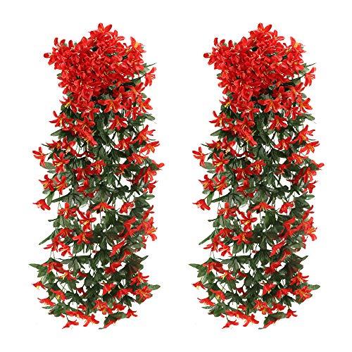 NAHUAA 2Pcs Kunstblumen Hängend Künstliche Blumen Girlande Kunstpflanze Hängend Plastikblumen Lilie Künstliche Hängepflanzen Lang für Topf Balkon Garten Draußen Wand Dekoration Rot (Rot)