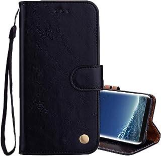 Huldoro -Para el caso de cuero Sumsung Galaxy S8 + Business Style Cera de petróleo Textura horizontal de tono con el soste...