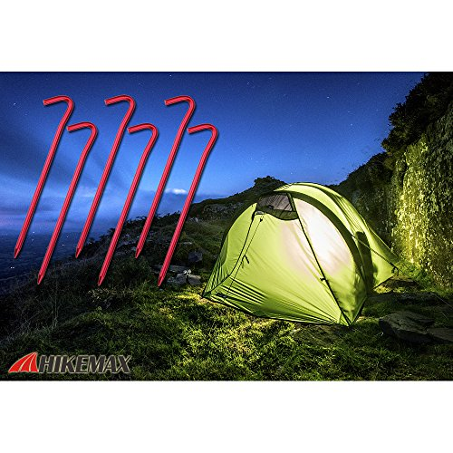 Hikemax 7075 Aluminum Tent Stakes 10 Pack - Ultralight 7 Inch Hook Tent Pegs with Carrying Pouch - Made for Camping Trip, Hiking and Gardening