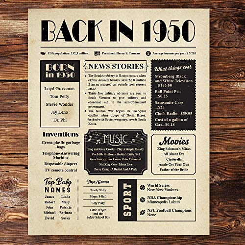 Back in 1950 Poster Unframed 8x10 - 70th Birthday Gifts for Women and Men - Gift Ideas for 70 Years Old Man and Woman Under 10 Dollars - Birthday Decorations Vintage for Grandma and Grandpa
