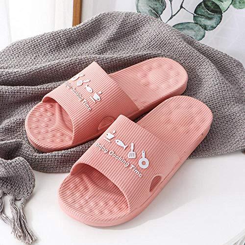 LNLJ Zapatillas de masaje antideslizantes en el baño, hombres y mujeres usan pantuflas para interiores y exteriores. Rosa_UK4.5-UK5