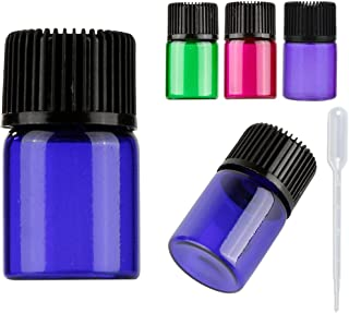 30pcs 2ml Colorful Essential Oil Bottles Mini 5/8 Dram Travel Glass sample Vials with Orifice Reducer,black cap for essential oil perfumes aromatherapy-2ml Plastic Transfer Pipette included