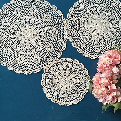 Ustide - Manteles individuales de mesa hechos a mano de ganchillo, algodón, Blanco, Diameter 9.8inch(25cm)