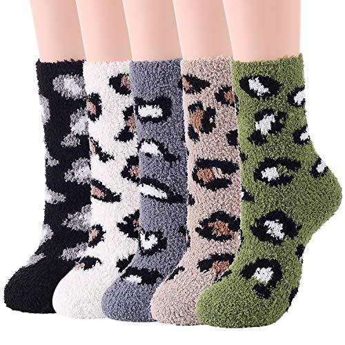 Zando Fuzzy Socks for Women Cozy Fluffy Socks Warm Slipper Socks Winter Fuzzy Socks Cute Fleece Socks Soft Sleep Socks Comfy Plush Socks Athletic Crew Socks 5 Pairs Print Leopard One Size