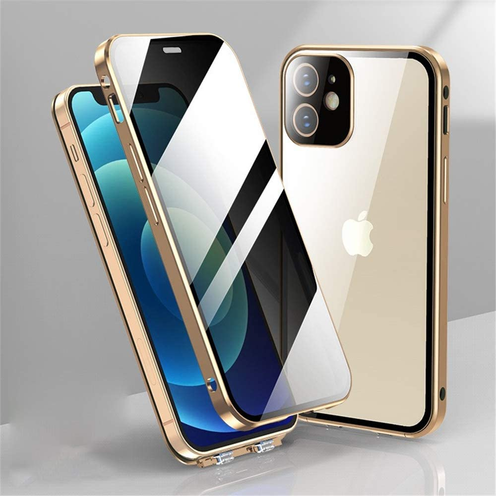 New Upgrade iPhone 12 Anti-Peeping case Double Lock Anti-Drop Aluminum Bumper High Aluminum Tempered Glass with Lens Protection Film 360 Double-Sided Glass Cover (iPhone12, Gold)