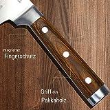 Zolmer® Profi Santokumesser aus deutschem Carbon Edelstahl und Pakkaholz - Rostfreies Sushi Messer mit Antihaftbeschichtung - Japanisches Küchenmesser - 5