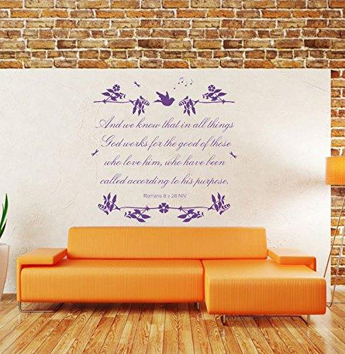 "Romans 8 v 28 NIV Christian Bible Verse Quote, Vinyl Wall Art Sticker, Mural, Decal. Home, Church, School Decor. Dimensions of sticker: 39 3/8"" wide x 39 1/4"" high"