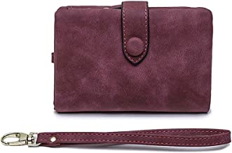 Gessy Women Bifold Leather Case Card Wallet RFID Blocking Zipper Wristlet Purse
