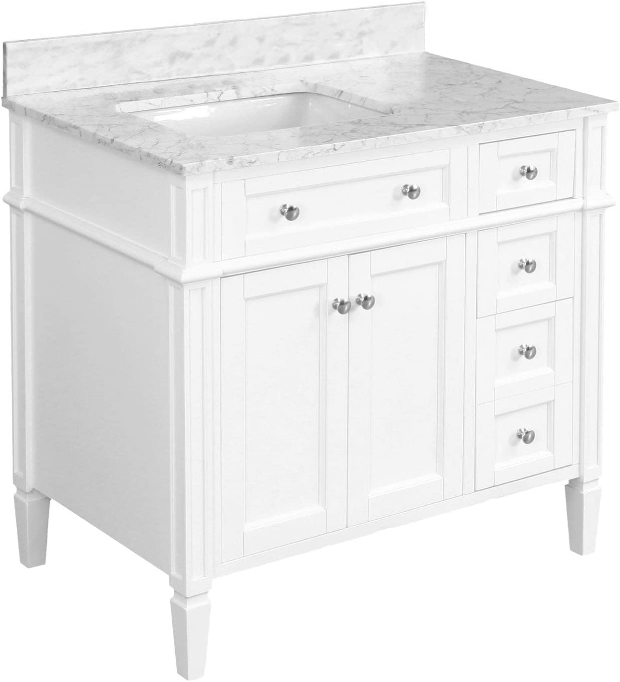 Buy Hailey 36 Inch Bathroom Vanity White Carrara Includes White Cabinet With Authentic Italian Carrara Marble Countertop And White Ceramic Sink Online In Indonesia B09322xhvv