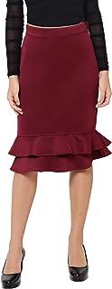 Martini Women Maroon Fitted Ruffle Skirt