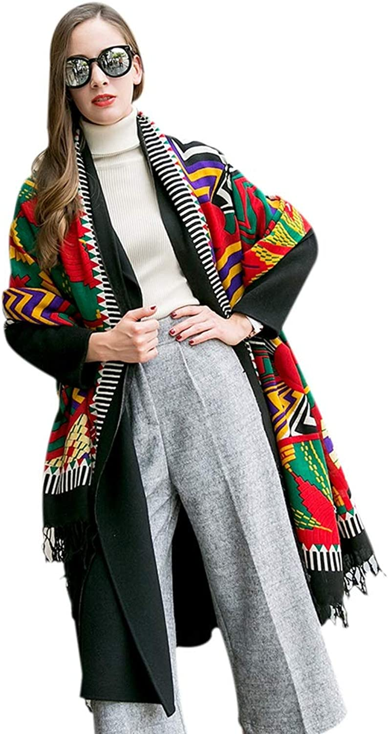 Cold Weather Scarves Scarf Ladies Scarf Ladies Shawl Spring Soft Scarf Beautiful Printed Scarf Wrapped Fringed Shawl Multifunctional Wool Scarf Oversized Ethnic Wind Cape New Year Gift Wraps