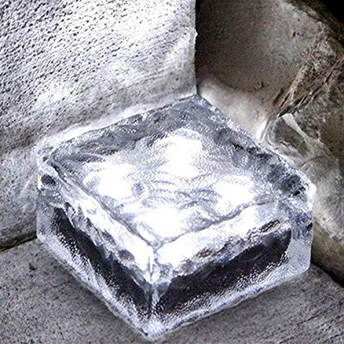 Solar-Lichter aus mattiertem Glas, 4 LED-Leuchten für Garten-Landschaftsweg, Eiswürfelstein-Solarlampe, 10,2 x 10,2 cm, quadratischer Würfel – 1 Stück weiß