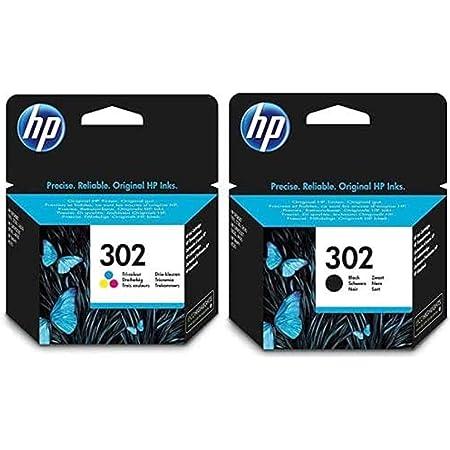 HP 302 Pack de 2 Cartouches d'Encre Noire/Trois Couleurs Authentiques pour HP deskjet 2130/3630 et HP Officejet 3830