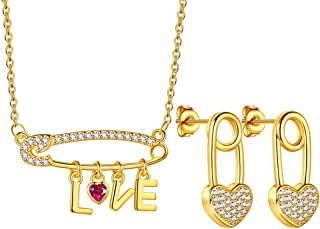 Beautlace Paperclip Safety Pin Necklace/Earring/Jewelry Set 18K/Silver Plated Love Heart Pendant with CZ for Women Girls