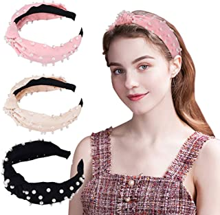 Pearl Headbands - Twisted Velvet Wide Headband Knot,Turban Headband with Faux Pearl, Elastic Hair Hoops Fashion Hair Accessories for Women and Girls