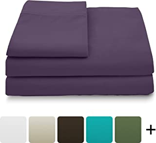 Cosy House Collection Luxury Bamboo Bed Sheet Set - Hypoallergenic Bedding Blend from Natural Bamboo Fiber - Resists Wrinkles - 4 Piece - 1 Fitted Sheet, 1 Flat, 2 Pillowcases - King, Purple