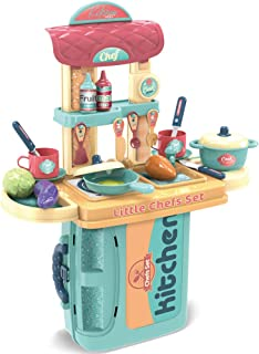 SameTech Kitchen Play Set Kids Cooking Toys Children Mini Kitchen Playset Realistic Miniature Chefs Pretend Play Dessert F...