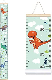Sylfairy Baby Height Growth Chart Ruler for Kids, Roll-up Wall Ruler Removable Wall Hanging Measurement Chart 7.9'' x 79'' Wall Decoration with Wood Frame