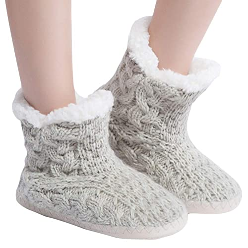 b7a02498f MaaMgic Womens Fuzzy Cable Knit Christmas House Slippers Girls Cute Bedroom  Indoor Winter Slippers