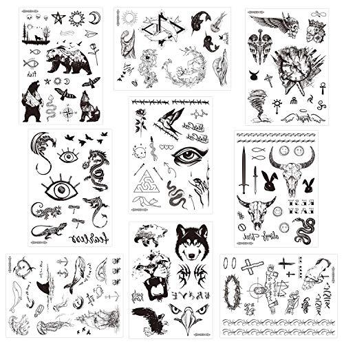 Konsait 9 Blätter Groß schwarze temporäre Tätowierung Aufkleber für Erwachsene Männer Frauen Drachen Löwe Wolf Skorpion Adler Blume efälschte Schwarz Tattoo Arm Tattoos Realistisch Männer