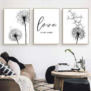 Pissenlit affiches et impressions noir et blanc peinture sur toile affiche minimaliste amour mur photos pour salon maison ...