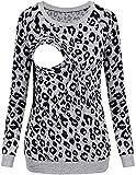 JJKUJHH-SHIRT Women's Maternity Nursing Blouses Pullover Sweatshirt Long Sleeve Pregnant Comfy Leopard Breastfeeding Clothes