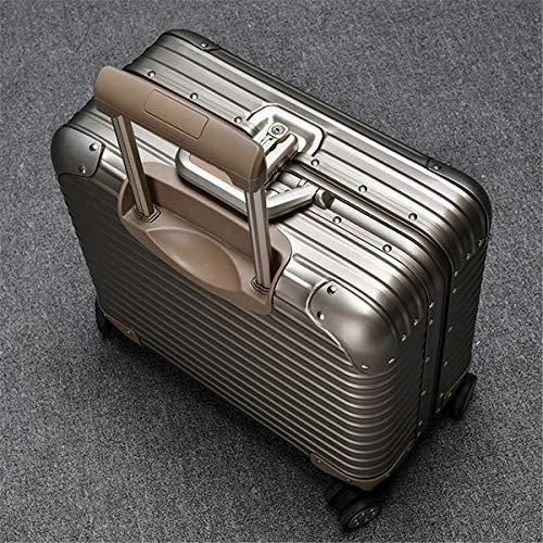 Maleta de viaje de aluminio, con ruedas, tamaño pequeño, 18 pulgadas, dorado (Dorado) - ngsen