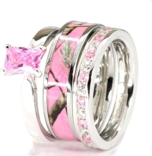 3 pieces Pink Camo Women`s Stanless Steel and Sterling Silver Tourmaline Engagement Wedding Rings Set