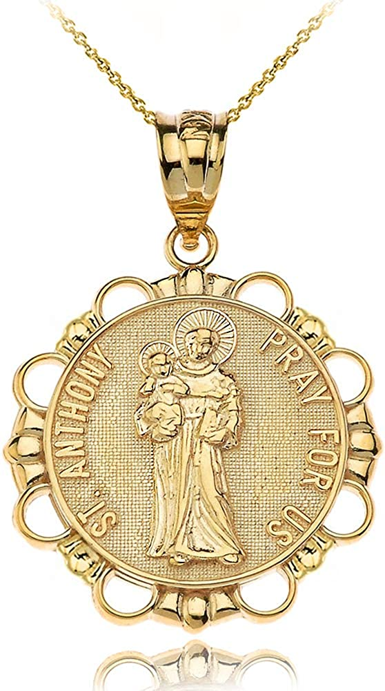 10k Gold Max 63% OFF Columbus Mall Round Saint Anthony Patron Medal Lost Penda Articles of